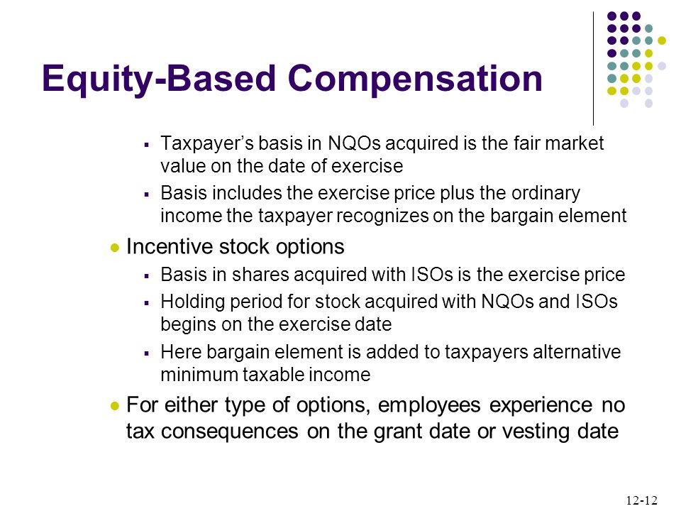 12-12 Equity-Based Compensation  Taxpayer's basis in NQOs acquired is the fair market value on the date of exercise  Basis includes the exercise price plus the ordinary income the taxpayer recognizes on the bargain element Incentive stock options  Basis in shares acquired with ISOs is the exercise price  Holding period for stock acquired with NQOs and ISOs begins on the exercise date  Here bargain element is added to taxpayers alternative minimum taxable income For either type of options, employees experience no tax consequences on the grant date or vesting date