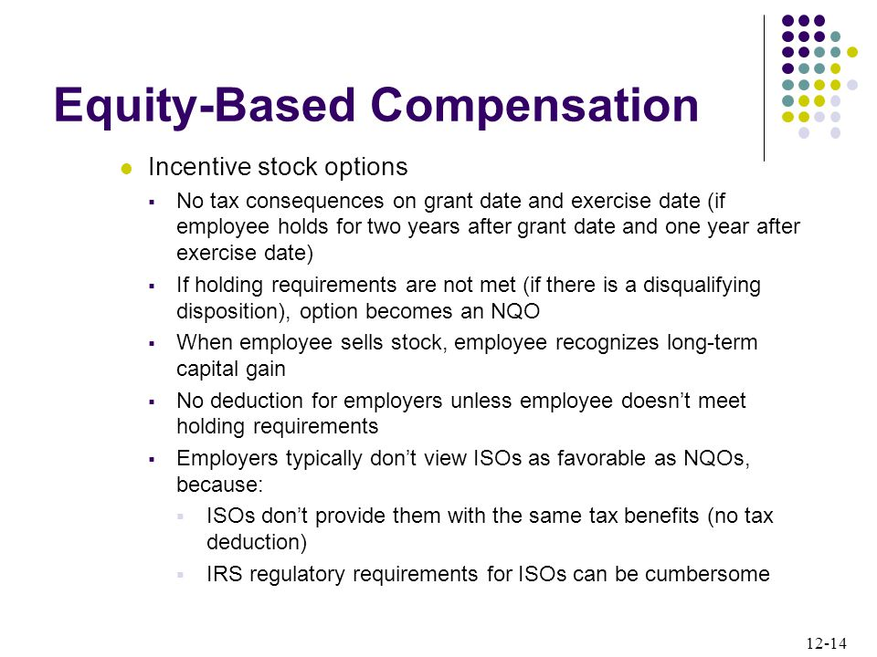 12-14 Equity-Based Compensation Incentive stock options  No tax consequences on grant date and exercise date (if employee holds for two years after grant date and one year after exercise date)  If holding requirements are not met (if there is a disqualifying disposition), option becomes an NQO  When employee sells stock, employee recognizes long-term capital gain  No deduction for employers unless employee doesn't meet holding requirements  Employers typically don't view ISOs as favorable as NQOs, because:  ISOs don't provide them with the same tax benefits (no tax deduction)  IRS regulatory requirements for ISOs can be cumbersome