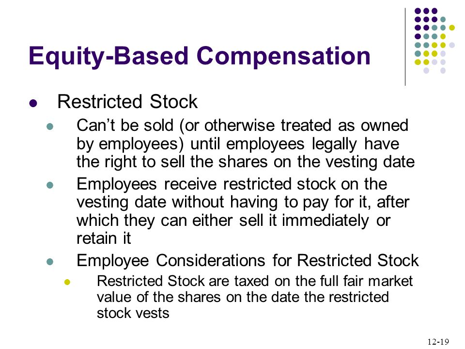12-19 Restricted Stock Can't be sold (or otherwise treated as owned by employees) until employees legally have the right to sell the shares on the vesting date Employees receive restricted stock on the vesting date without having to pay for it, after which they can either sell it immediately or retain it Employee Considerations for Restricted Stock Restricted Stock are taxed on the full fair market value of the shares on the date the restricted stock vests Equity-Based Compensation