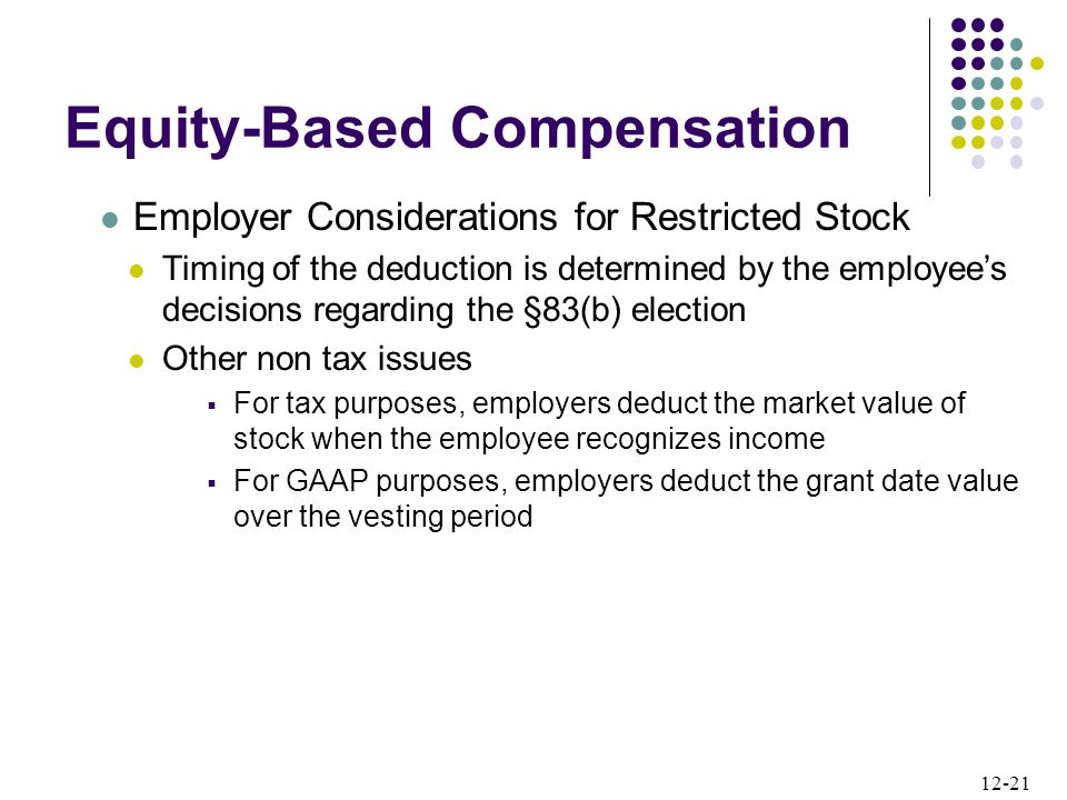 12-21 Employer Considerations for Restricted Stock Timing of the deduction is determined by the employee's decisions regarding the §83(b) election Other non tax issues  For tax purposes, employers deduct the market value of stock when the employee recognizes income  For GAAP purposes, employers deduct the grant date value over the vesting period Equity-Based Compensation