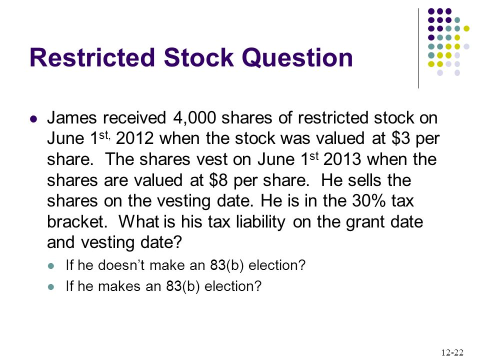 12-22 Restricted Stock Question James received 4,000 shares of restricted stock on June 1 st, 2012 when the stock was valued at $3 per share. The shar