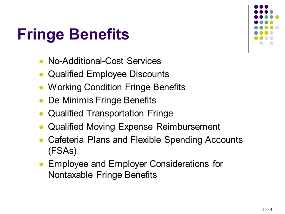 12-31 Fringe Benefits No-Additional-Cost Services Qualified Employee Discounts Working Condition Fringe Benefits De Minimis Fringe Benefits Qualified