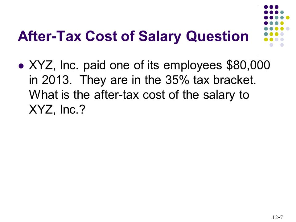 12-7 After-Tax Cost of Salary Question XYZ, Inc. paid one of its employees $80,000 in 2013.