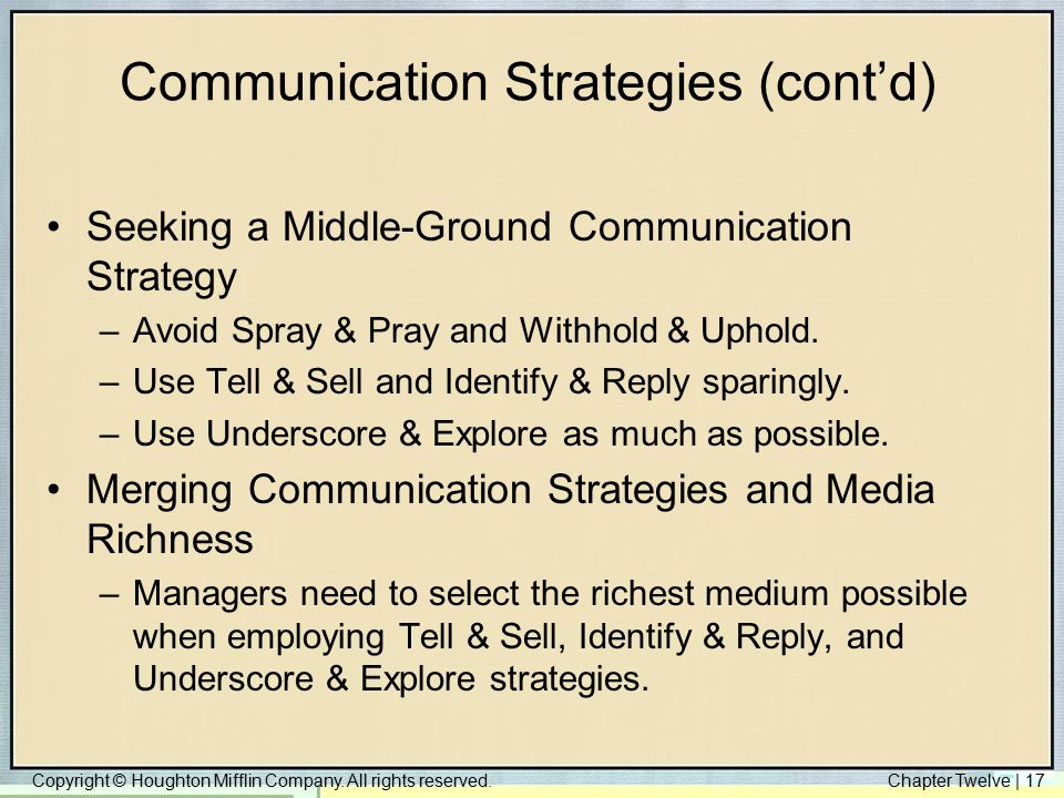 Copyright © Houghton Mifflin Company. All rights reserved.Chapter Twelve | 17 Communication Strategies (cont'd) Seeking a Middle-Ground Communication