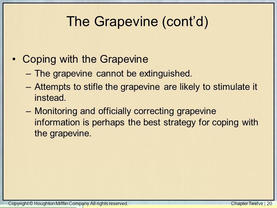 Copyright © Houghton Mifflin Company. All rights reserved.Chapter Twelve | 20 The Grapevine (cont'd) Coping with the Grapevine –The grapevine cannot b