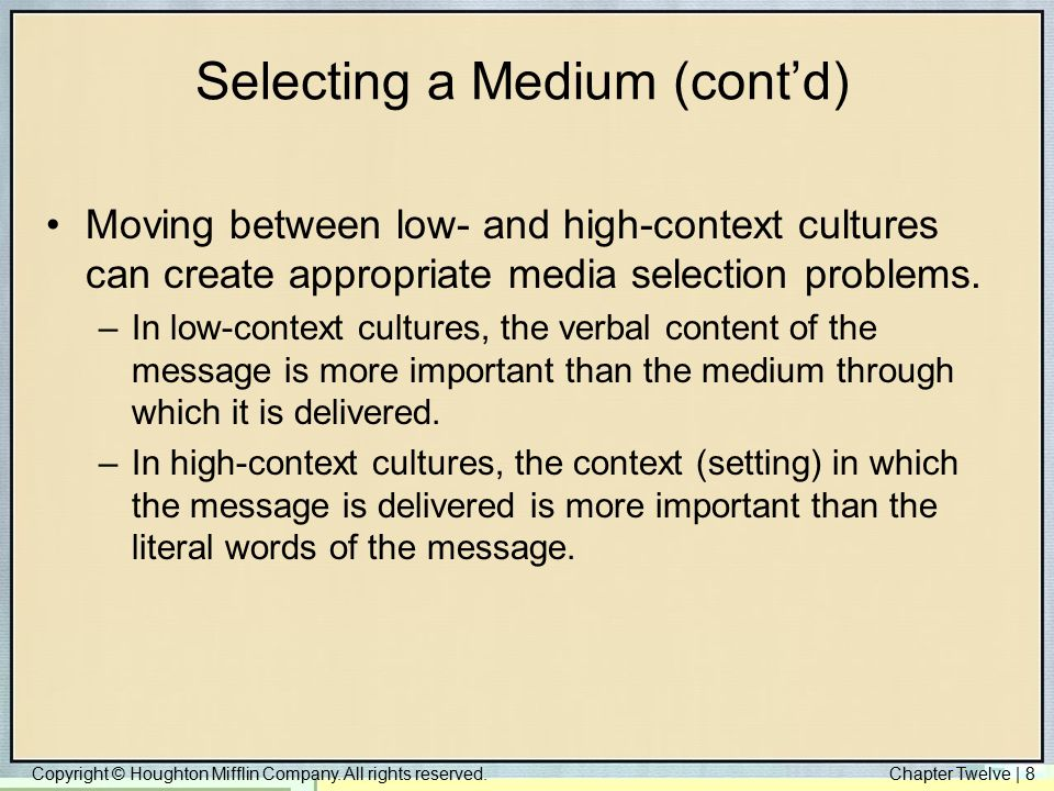 Copyright © Houghton Mifflin Company. All rights reserved.Chapter Twelve | 8 Selecting a Medium (cont'd) Moving between low- and high-context cultures