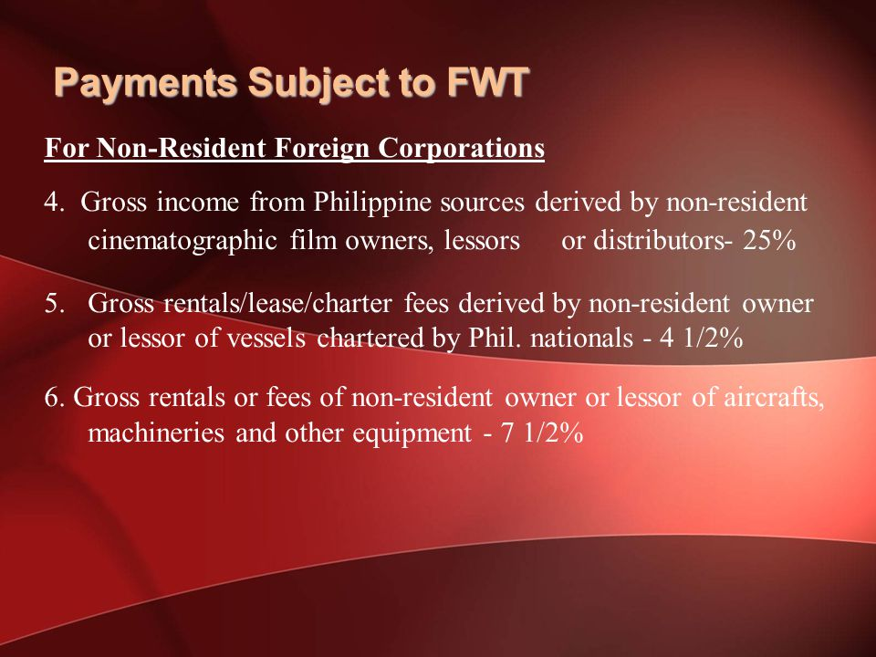 For Non-Resident Foreign Corporations 4.