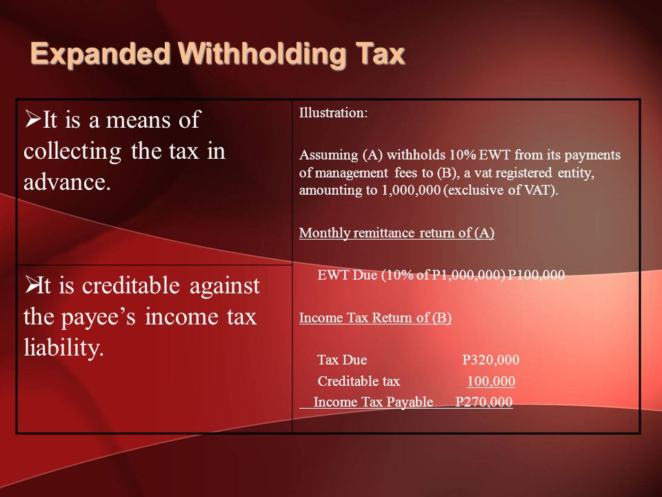 Expanded Withholding Tax  It is a means of collecting the tax in advance.