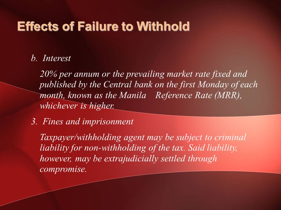 Effects of Failure to Withhold b.
