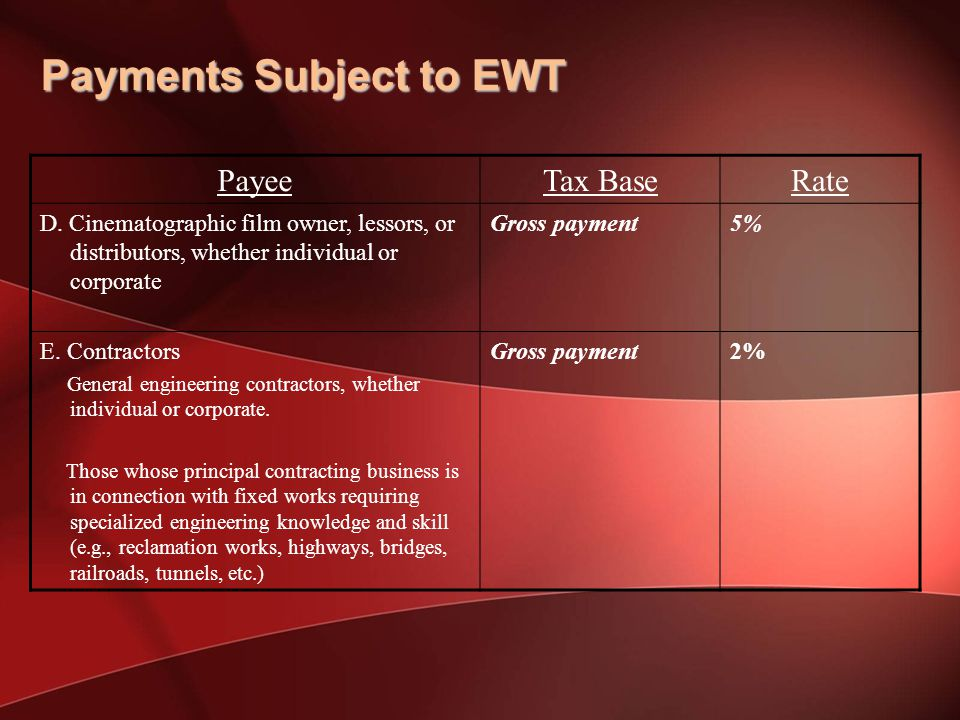 Payments Subject to EWT PayeeTax BaseRate D.