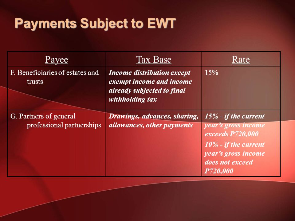 Payments Subject to EWT PayeeTax BaseRate F.