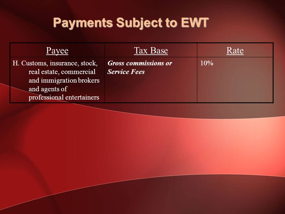 Payments Subject to EWT PayeeTax BaseRate H.