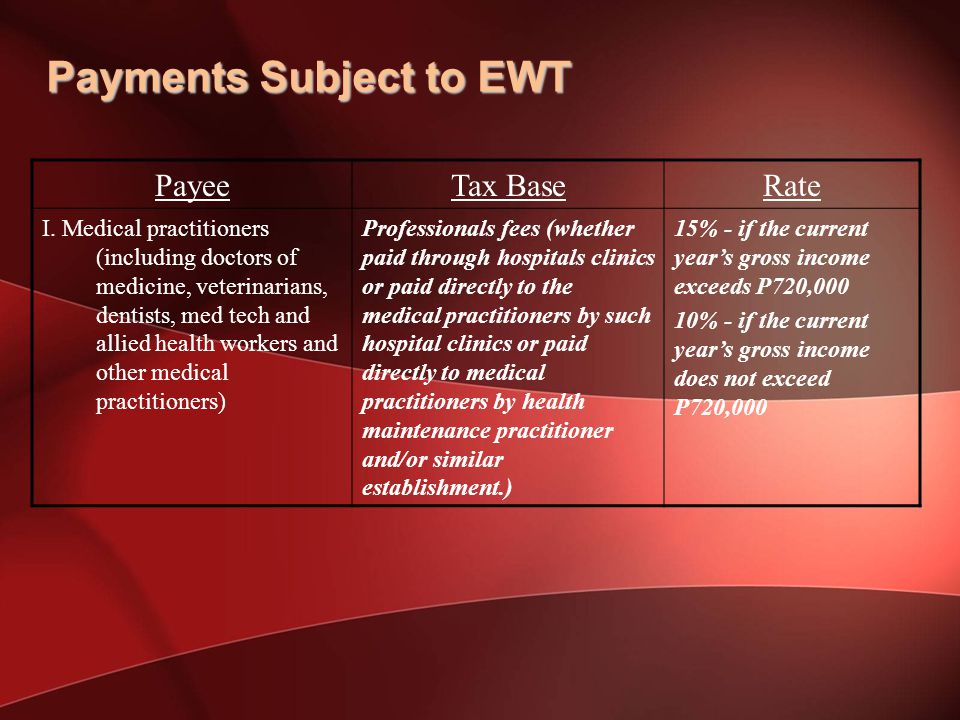 Payments Subject to EWT PayeeTax BaseRate I.