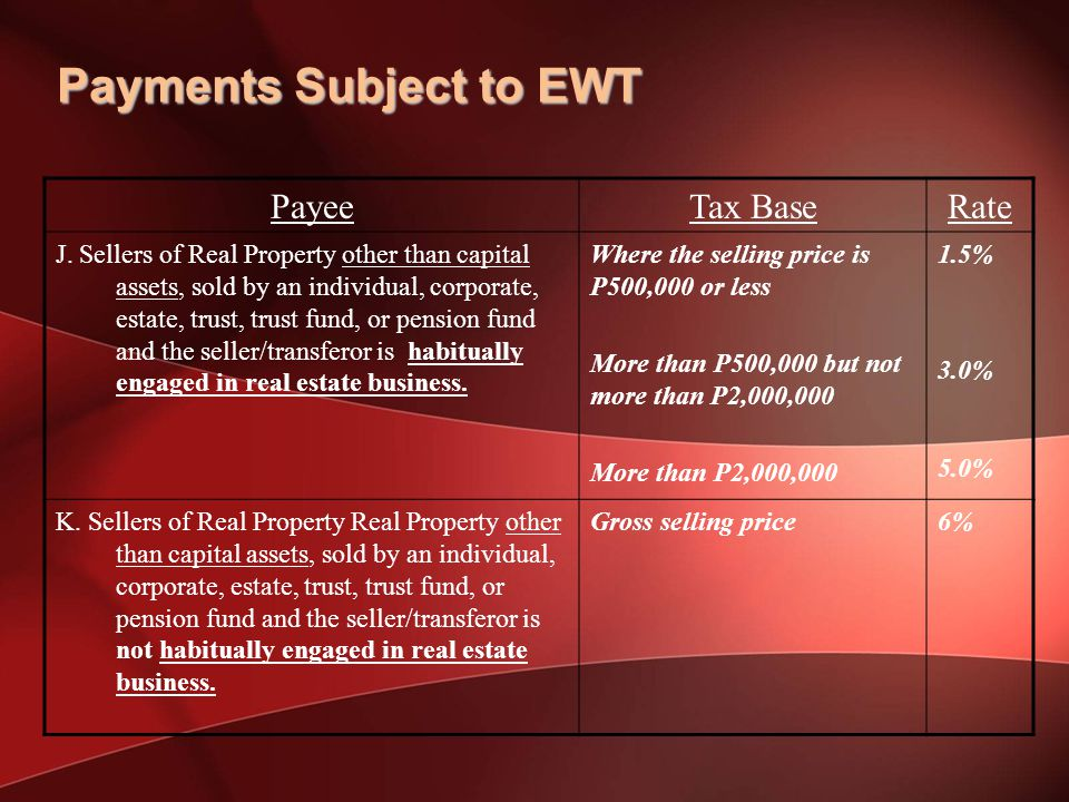 Payments Subject to EWT PayeeTax BaseRate J.