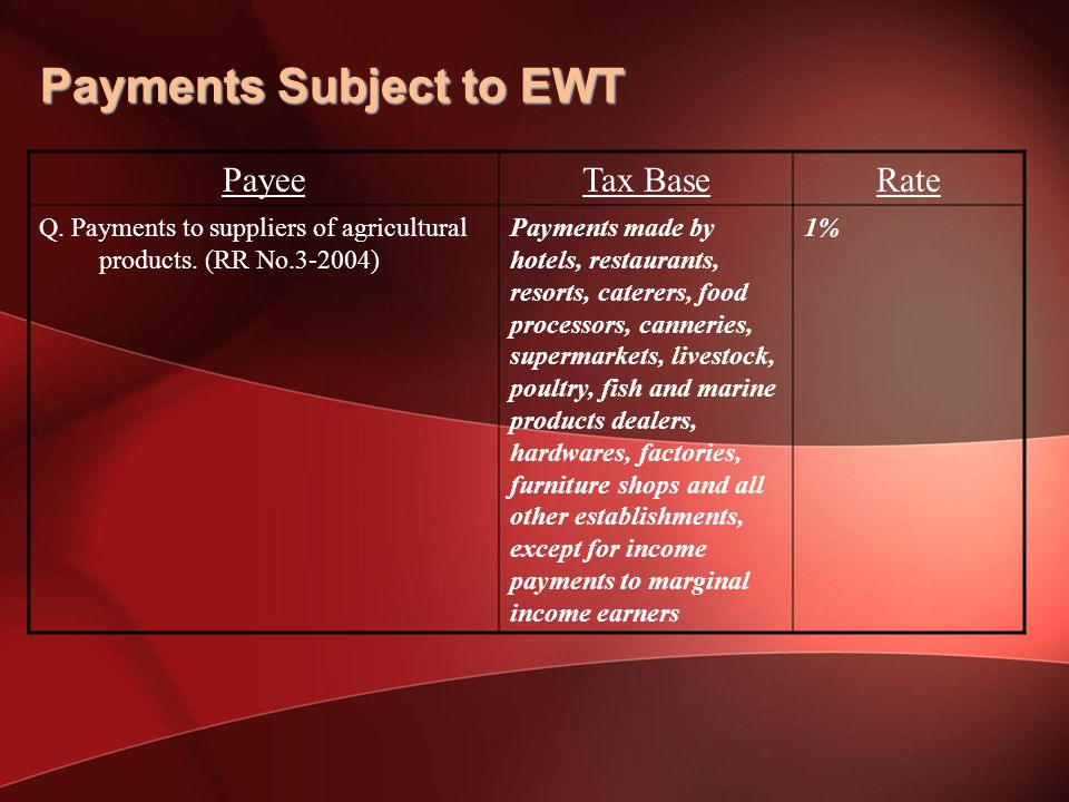 Payments Subject to EWT PayeeTax BaseRate Q.Payments to suppliers of agricultural products.