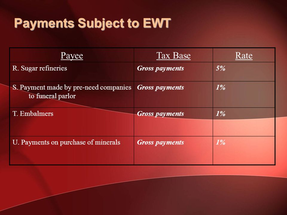 Payments Subject to EWT PayeeTax BaseRate R.Sugar refineriesGross payments5% S.