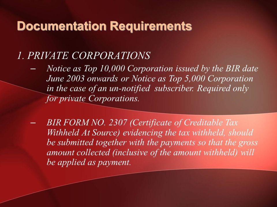 Documentation Requirements 1.
