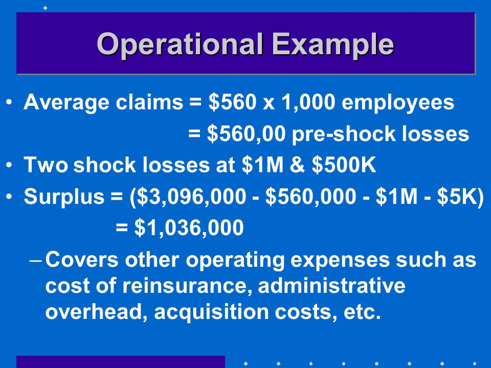 Operational Example Average claims = $560 x 1,000 employees = $560,00 pre-shock losses Two shock losses at $1M & $500K Surplus = ($3,096,000 - $560,000 - $1M - $5K) = $1,036,000 –Covers other operating expenses such as cost of reinsurance, administrative overhead, acquisition costs, etc.