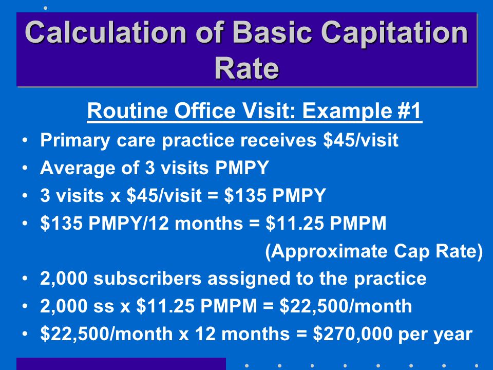 Calculation of Basic Capitation Rate Routine Office Visit: Example #1 Primary care practice receives $45/visit Average of 3 visits PMPY 3 visits x $45/visit = $135 PMPY $135 PMPY/12 months = $11.25 PMPM (Approximate Cap Rate) 2,000 subscribers assigned to the practice 2,000 ss x $11.25 PMPM = $22,500/month $22,500/month x 12 months = $270,000 per year