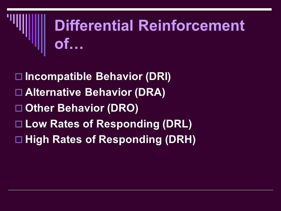 Differential Reinforcement of…  Incompatible Behavior (DRI)  Alternative Behavior (DRA)  Other Behavior (DRO)  Low Rates of Responding (DRL)  High Rates of Responding (DRH)