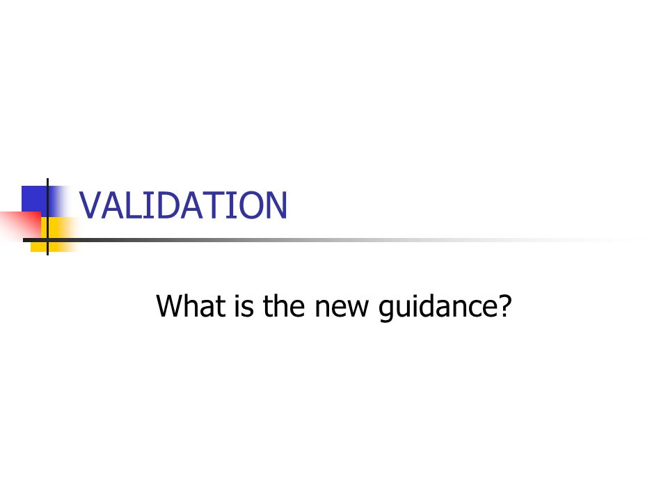 VALIDATION What is the new guidance?