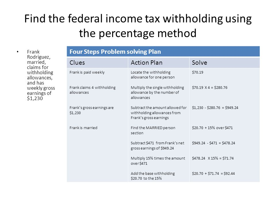 Find the federal income tax withholding using the wage bracket method Based on a person's total gross earnings, marital status, and number of allowances claimed Form W-4 (Employee's Withholding Allowance Certificate) Withholding Tax Table