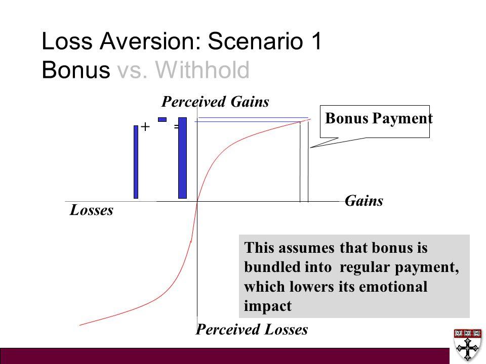 Loss Aversion: Scenario 1 Bonus vs. Withhold Gains Losses Perceived Losses Perceived Gains Bonus Payment + = This assumes that bonus is bundled into r