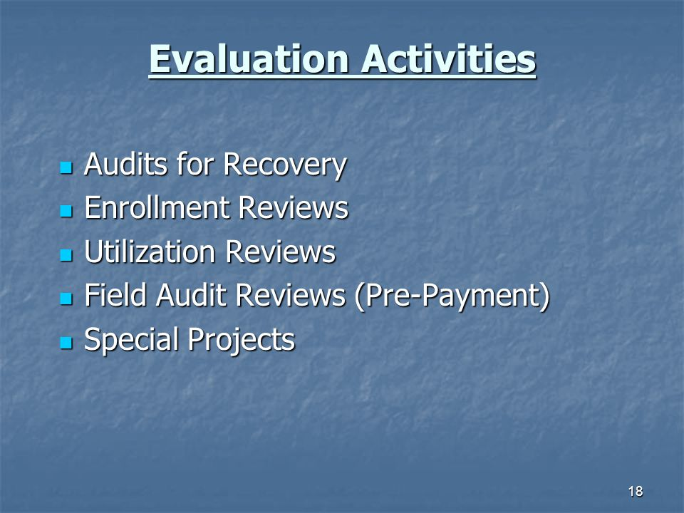 18 Evaluation Activities Audits for Recovery Audits for Recovery Enrollment Reviews Enrollment Reviews Utilization Reviews Utilization Reviews Field Audit Reviews (Pre-Payment) Field Audit Reviews (Pre-Payment) Special Projects Special Projects
