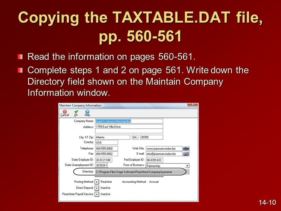 Copying the TAXTABLE.DAT file, p.562-564 (concluded) Complete steps 3 and 4 on page 562.