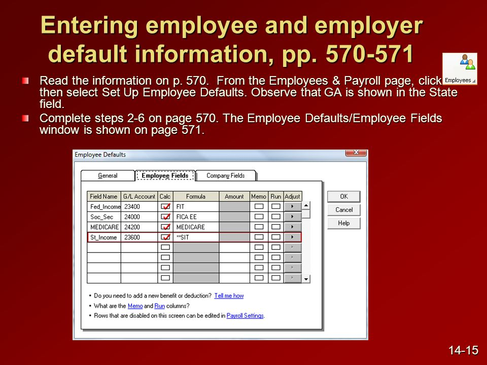 Entering employee and employer default information, pp.