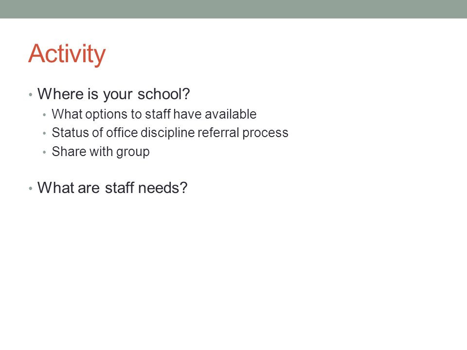 Activity Where is your school? What options to staff have available Status of office discipline referral process Share with group What are staff needs