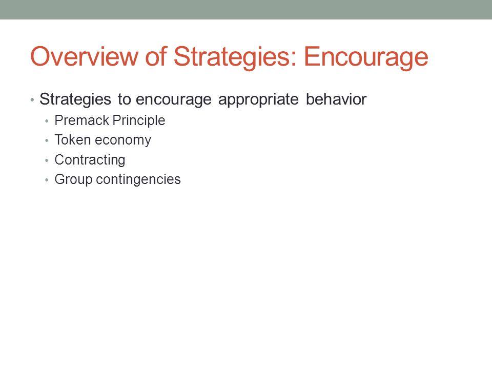 Overview of Strategies: Encourage Strategies to encourage appropriate behavior Premack Principle Token economy Contracting Group contingencies