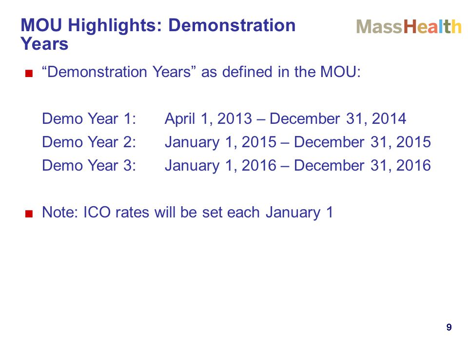 999999 ■ Demonstration Years as defined in the MOU: Demo Year 1:April 1, 2013 – December 31, 2014 Demo Year 2:January 1, 2015 – December 31, 2015 Demo Year 3:January 1, 2016 – December 31, 2016 ■Note: ICO rates will be set each January 1 MOU Highlights: Demonstration Years