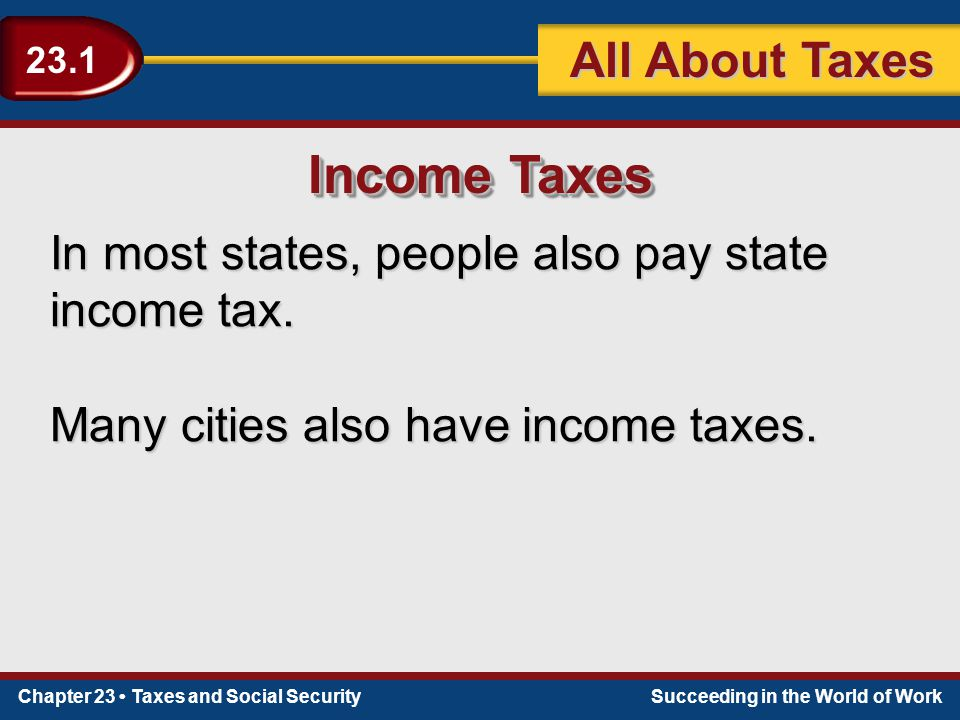 Chapter 23 Taxes and Social SecuritySucceeding in the World of Work 23.1 All About Taxes Income Taxes In most states, people also pay state income tax.