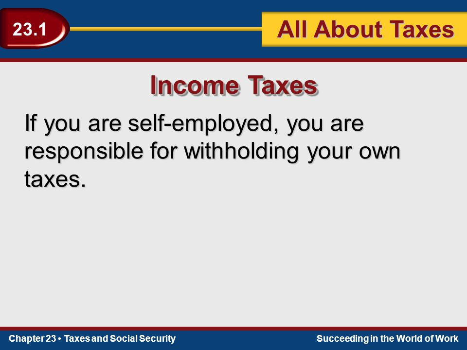 Chapter 23 Taxes and Social SecuritySucceeding in the World of Work 23.1 All About Taxes Income Taxes If you are self-employed, you are responsible for withholding your own taxes.