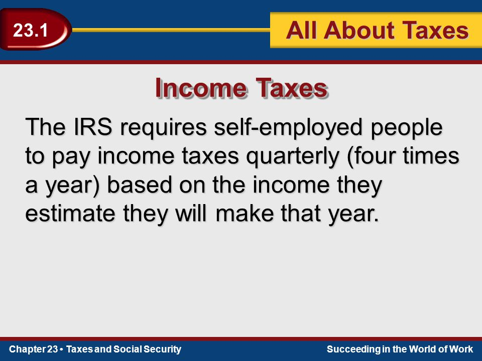 Chapter 23 Taxes and Social SecuritySucceeding in the World of Work 23.1 All About Taxes Income Taxes The IRS requires self-employed people to pay income taxes quarterly (four times a year) based on the income they estimate they will make that year.