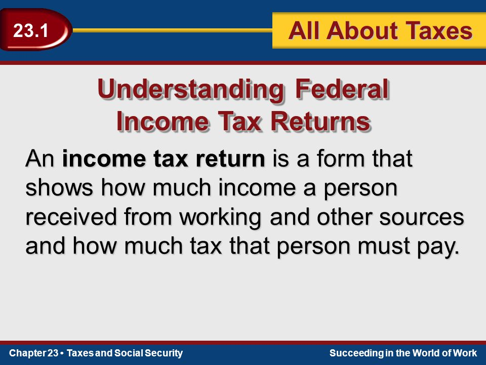 Chapter 23 Taxes and Social SecuritySucceeding in the World of Work 23.1 All About Taxes Understanding Federal Income Tax Returns Understanding Federal Income Tax Returns An income tax return is a form that shows how much income a person received from working and other sources and how much tax that person must pay.