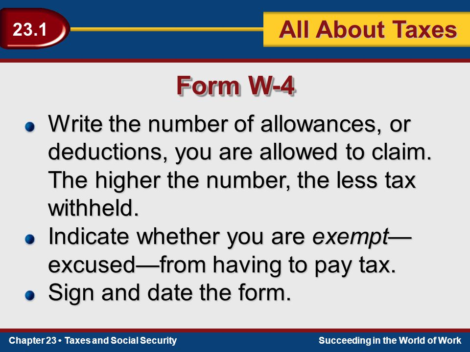 Chapter 23 Taxes and Social SecuritySucceeding in the World of Work 23.1 All About Taxes Form W-4 Write the number of allowances, or deductions, you are allowed to claim.