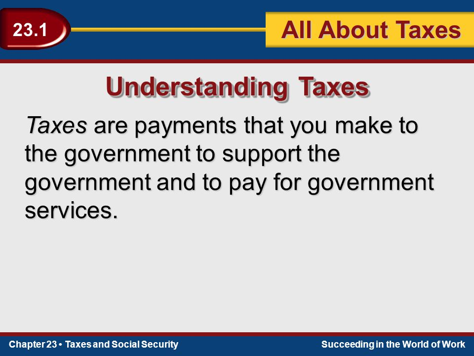 Chapter 23 Taxes and Social SecuritySucceeding in the World of Work 23.1 All About Taxes Understanding Taxes Taxes are payments that you make to the g