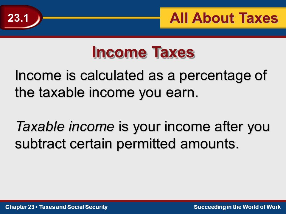 Chapter 23 Taxes and Social SecuritySucceeding in the World of Work 23.1 All About Taxes Income Taxes Income is calculated as a percentage of the taxa