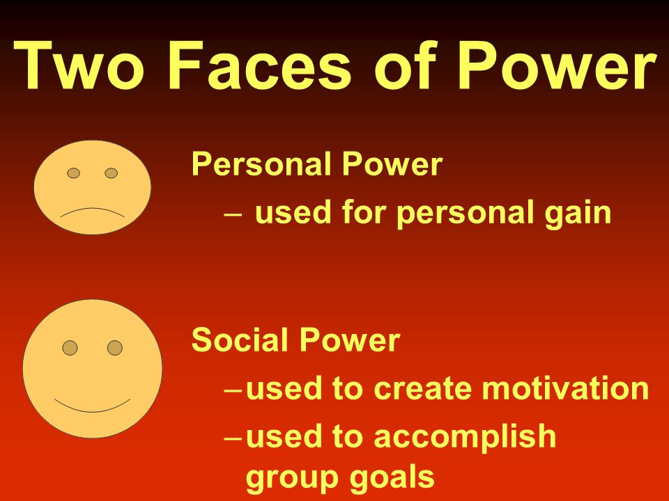 Two Faces of Power Personal Power – used for personal gain Social Power – used to create motivation – used to accomplish group goals