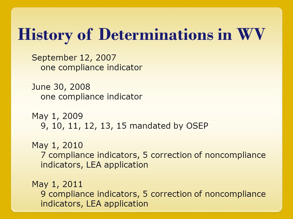 History of Determinations in WV September 12, 2007 one compliance indicator June 30, 2008 one compliance indicator May 1, 2009 9, 10, 11, 12, 13, 15 m