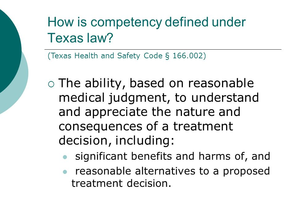How is competency defined under Texas law.