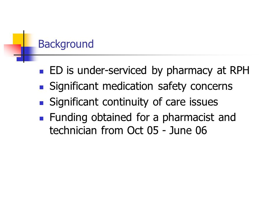 Background ED is under-serviced by pharmacy at RPH Significant medication safety concerns Significant continuity of care issues Funding obtained for a