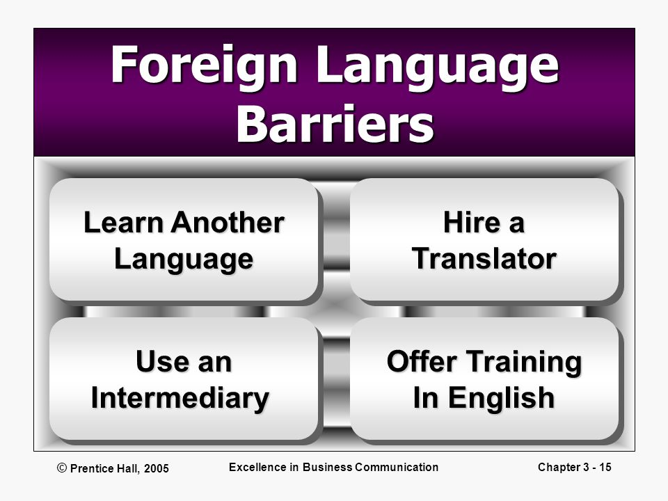 © Prentice Hall, 2005 Excellence in Business CommunicationChapter 3 - 15 Foreign Language Barriers Learn Another Language Language Offer Training In E