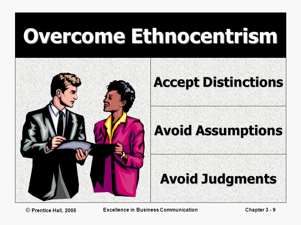 © Prentice Hall, 2005 Excellence in Business CommunicationChapter 3 - 9 Overcome Ethnocentrism Accept Distinctions Avoid Assumptions Avoid Judgments