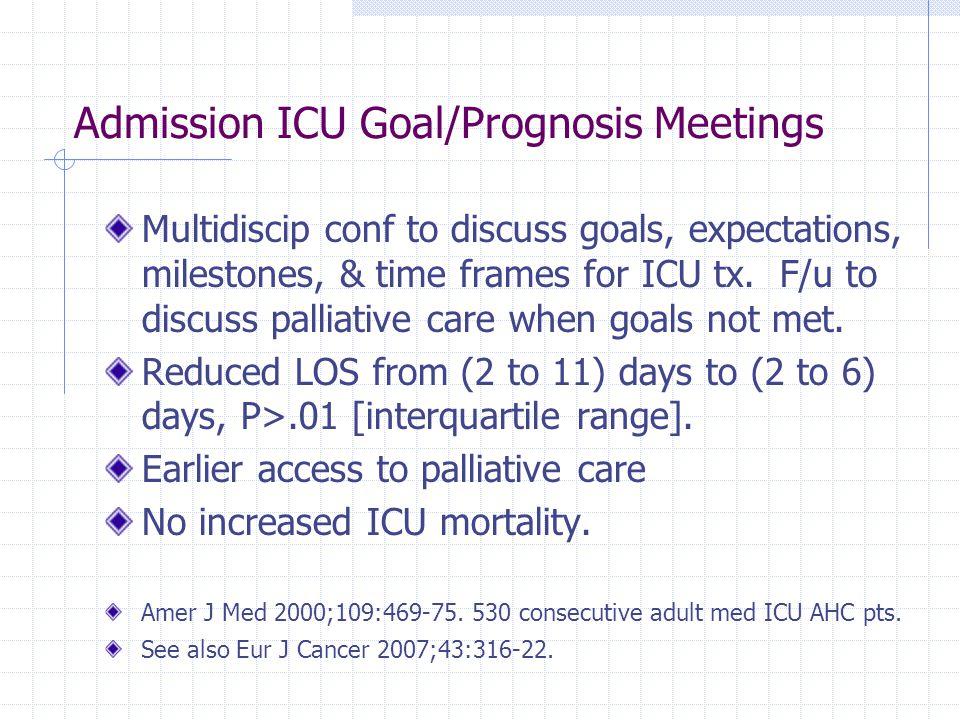 Admission ICU Goal/Prognosis Meetings Multidiscip conf to discuss goals, expectations, milestones, & time frames for ICU tx.