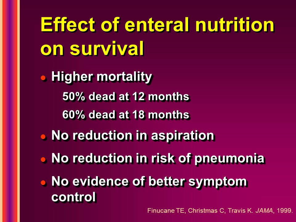 Effect of enteral nutrition on survival l Higher mortality 50% dead at 12 months 60% dead at 18 months l No reduction in aspiration l No reduction in