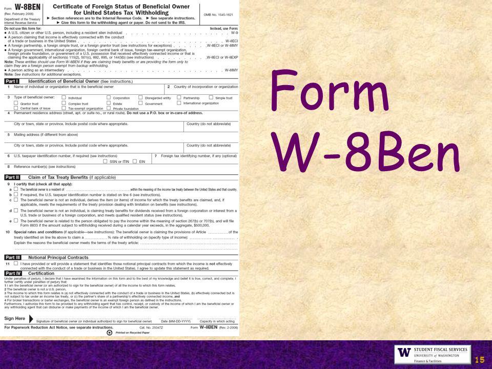 15 Form W-8Ben
