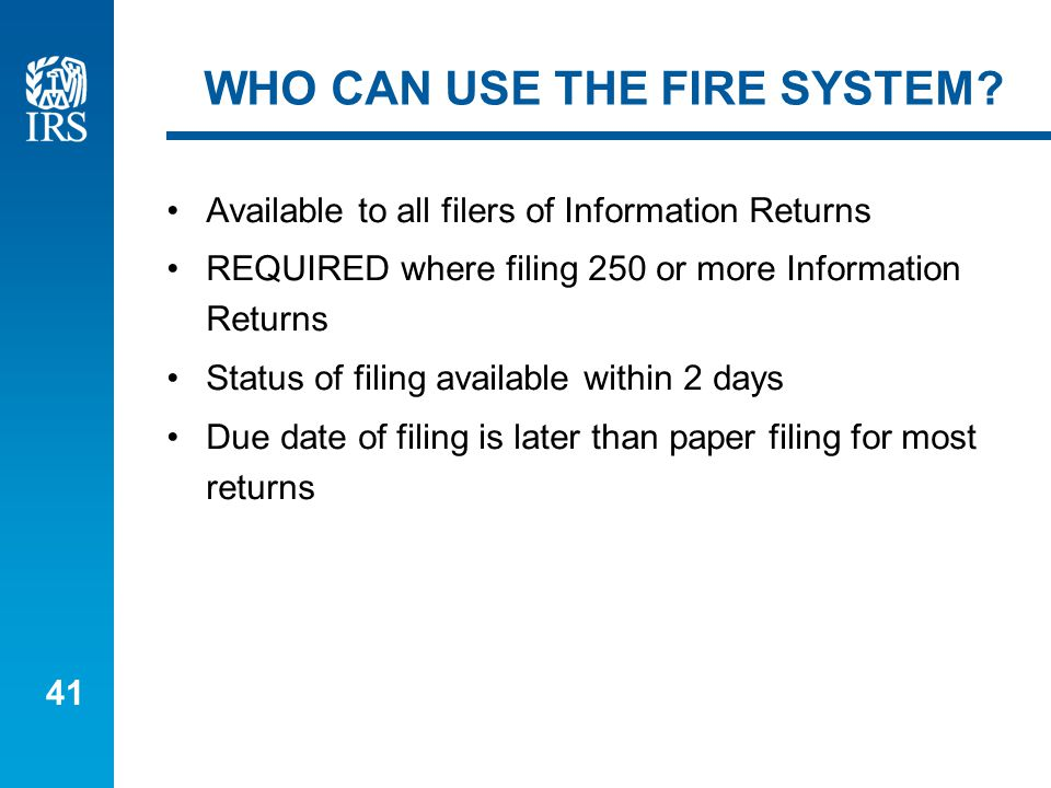 41 WHO CAN USE THE FIRE SYSTEM.